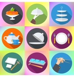 Set flat design icons for restaurant vector