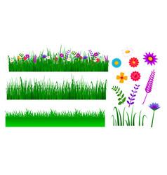 set green grass border vector image
