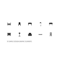 set of 10 editable interior icons includes vector image