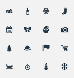 Set simple christmas icons vector