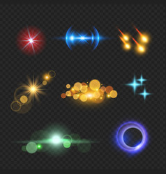 shining lens flare effects solar light bokeh vector image