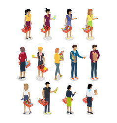 Shopping people isometric characters set vector