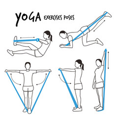 Slim girl practicing yoga exercises fitness vector
