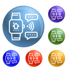 smart watch icons set vector image