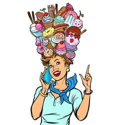 Stewardess woman dreams food and sweets vector
