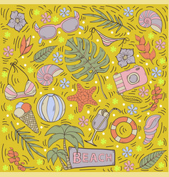 summer seamless pattern with tropical leaves vector image