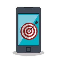 target arrow with smartphone icon vector image