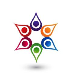 Teamwork hands up icon logo vector