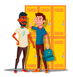 teenagers near lockers in college isolated vector image
