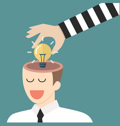 thief stealing lightbulb idea from a head vector image