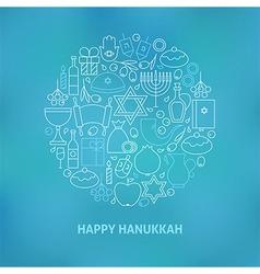 Thin Line Jewish Happy Hanukkah Holiday Icons Set vector