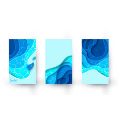 vertical banners with blue paper cut layout vector image