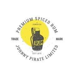 Vintage handcrafted pirate rum emblem alcohol vector image