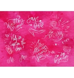 Wedding signs pink vector