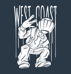 West coast guy hip-hop hand gesture rap sign vector
