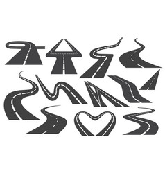 winding curved road or highway with markings set vector image