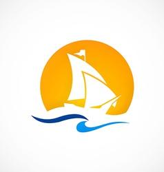 yacht boat ocean logo vector image