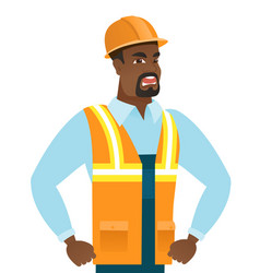 Young african-american angry builder screaming vector