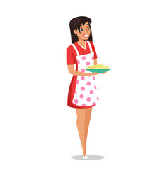 Young housewife with dish pancakes vector