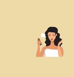 Young woman applying hair spray haircare concept vector