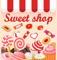 Background with sweet desserts food candy vector image vector image
