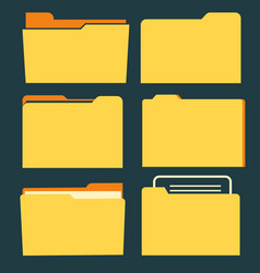 documents folder icon set business document vector image vector image