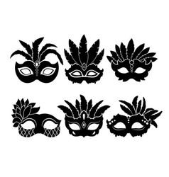 monochrome black of carnival masks vector image