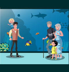 people looking at fish in the aquarium vector image vector image