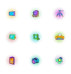 Photo shooting icons set pop-art style vector image vector image