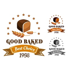 Rye bread banner or label vector image vector image