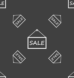 SALE tag icon sign Seamless pattern on a gray vector image