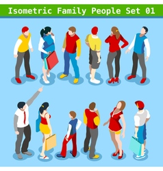 Family Set 01 People Isometric vector image vector image