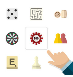 flat icon entertainment set of labyrinth arrow vector image vector image