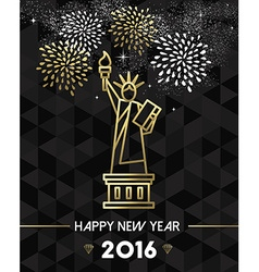 New Year 2016 NYC USA travel statue liberty gold vector image