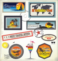 Travel post stamp vector image vector image