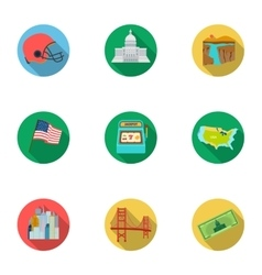 USA country set icons in flat style Big vector image vector image