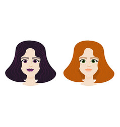 female face with different hairstyles isolated on vector image