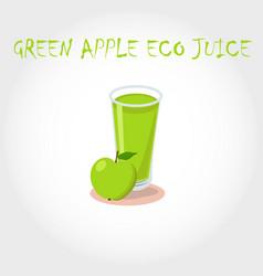 glass bio fresh green apple juice vector image vector image