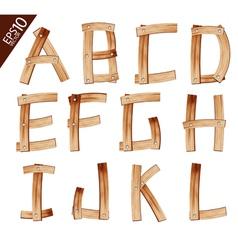 Old Grunge Wooden Alphabet vector image vector image