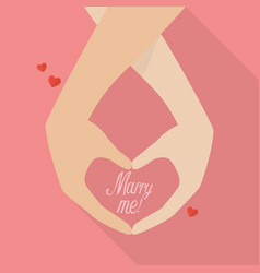 couple hands with marry me word vector image vector image