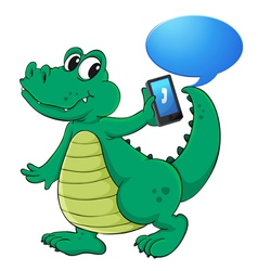 Crocodile with cell phone vector image
