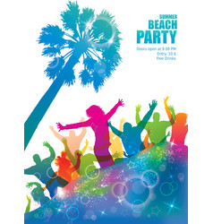 Dancing young people on the tropical beach vector image