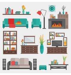 Flat Furniture Interior Icon Set vector image vector image
