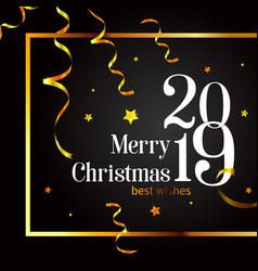 2019 merry christmas card on a black background vector image