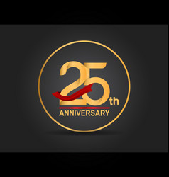 25 anniversary design golden color with ring vector