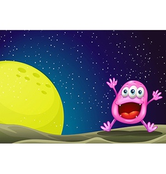 A monster near the moon vector image