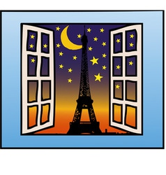 a window on the eiffel tower vector image