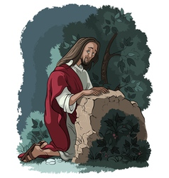 Agony in the garden jesus in gethsemane vector