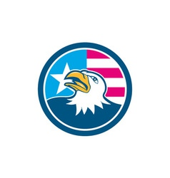 American Bald Eagle Head Flag Side Cartoon vector
