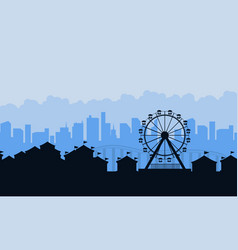 Amusement park landscape silhouettes background vector